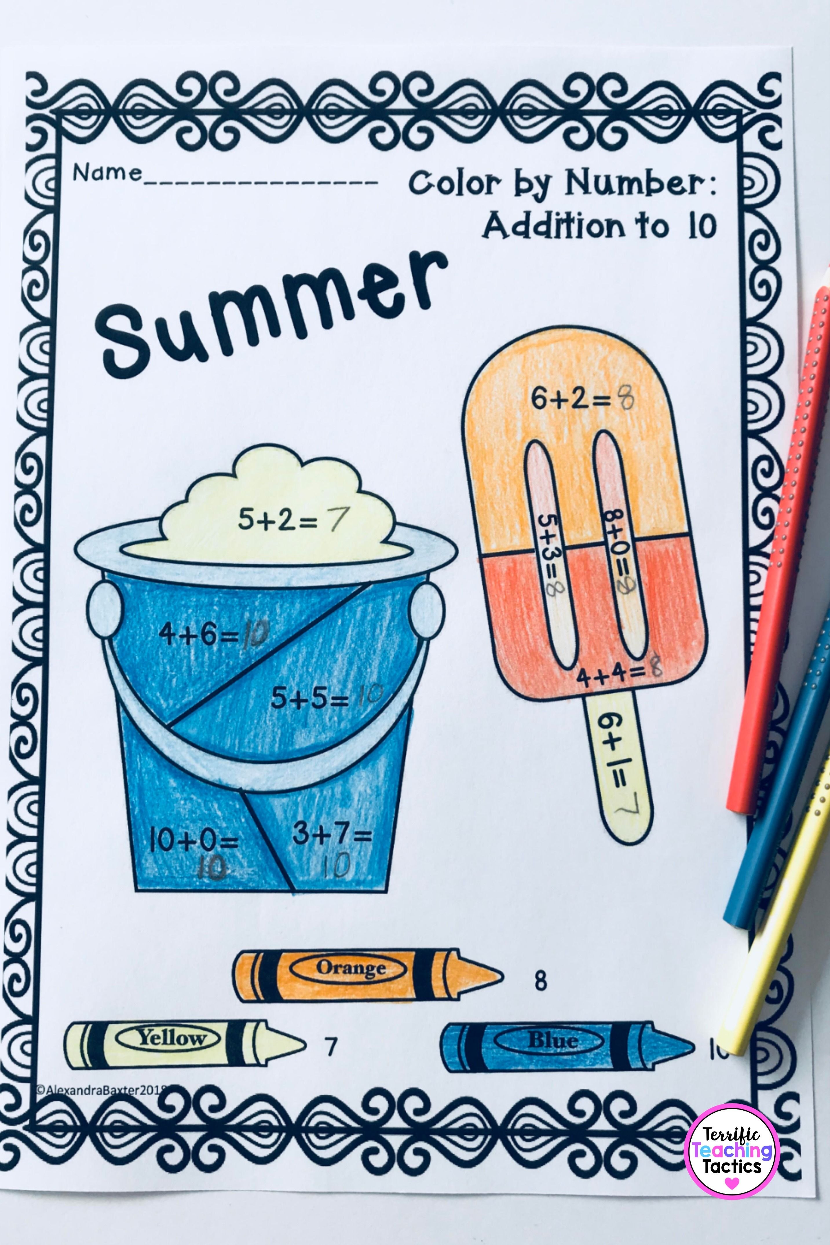 Summer Color By Addition In