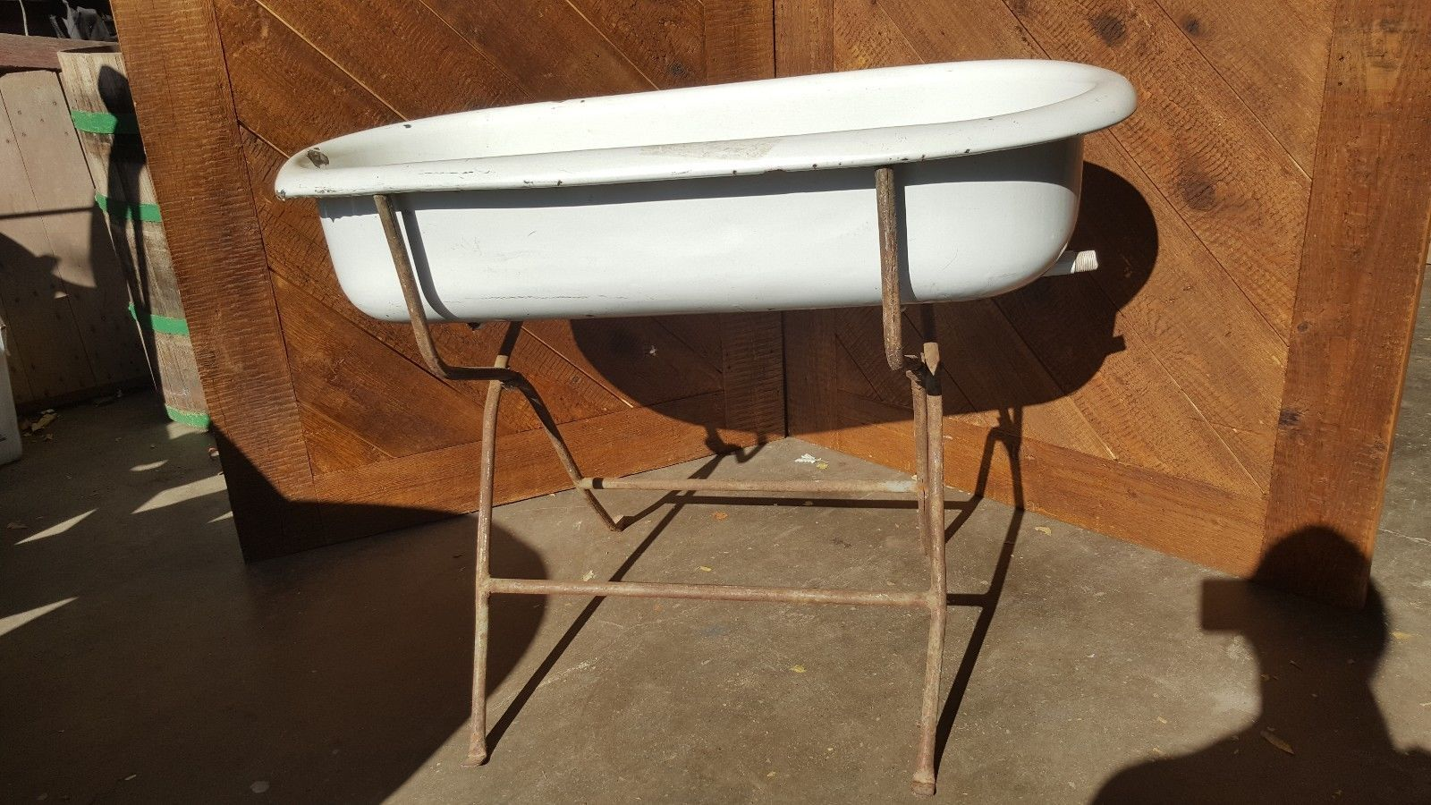 Antiques #Gifts Antique Porcelain Baby Bath Tub W/ Folding Stand ...