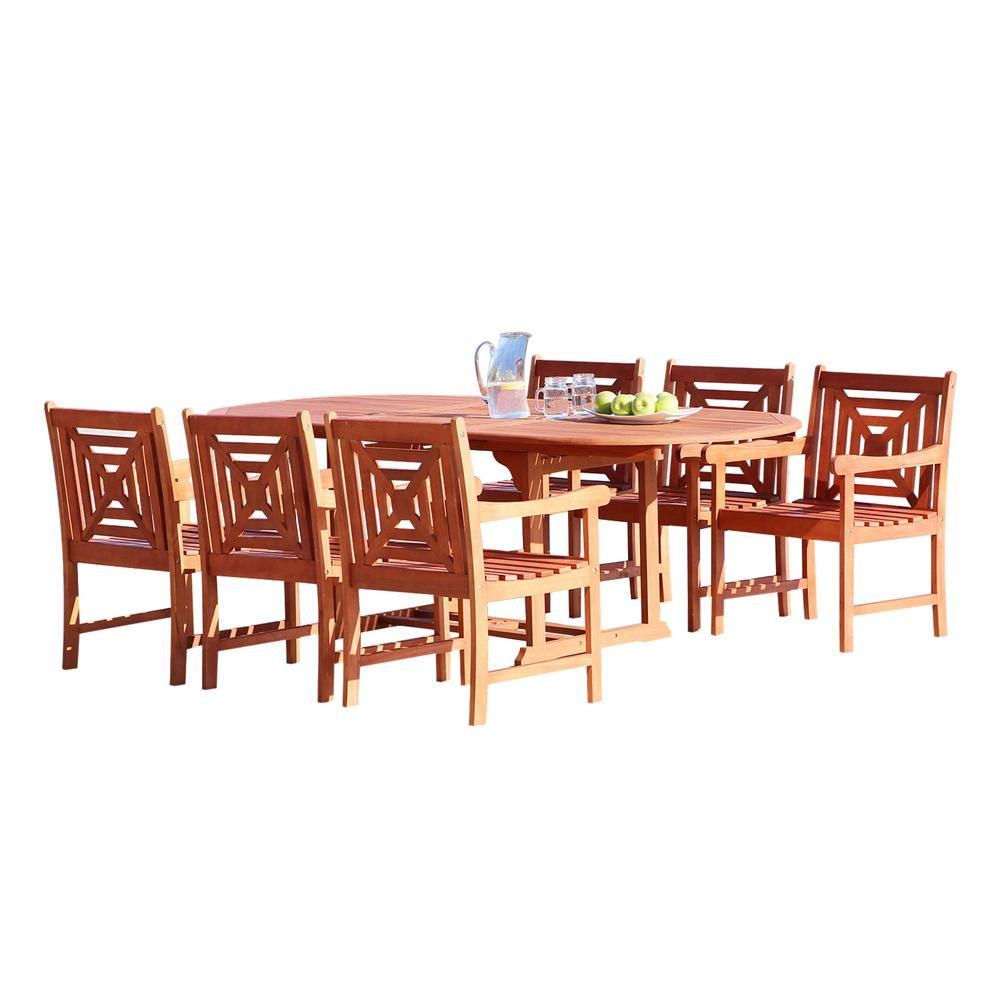 Vifah malibu piece wood oval outdoor dining set outdoor dining