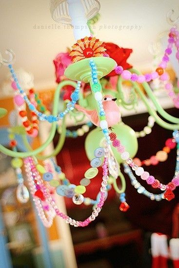 Great Chandelier Idea for my Jewelry Studio, love the colors!