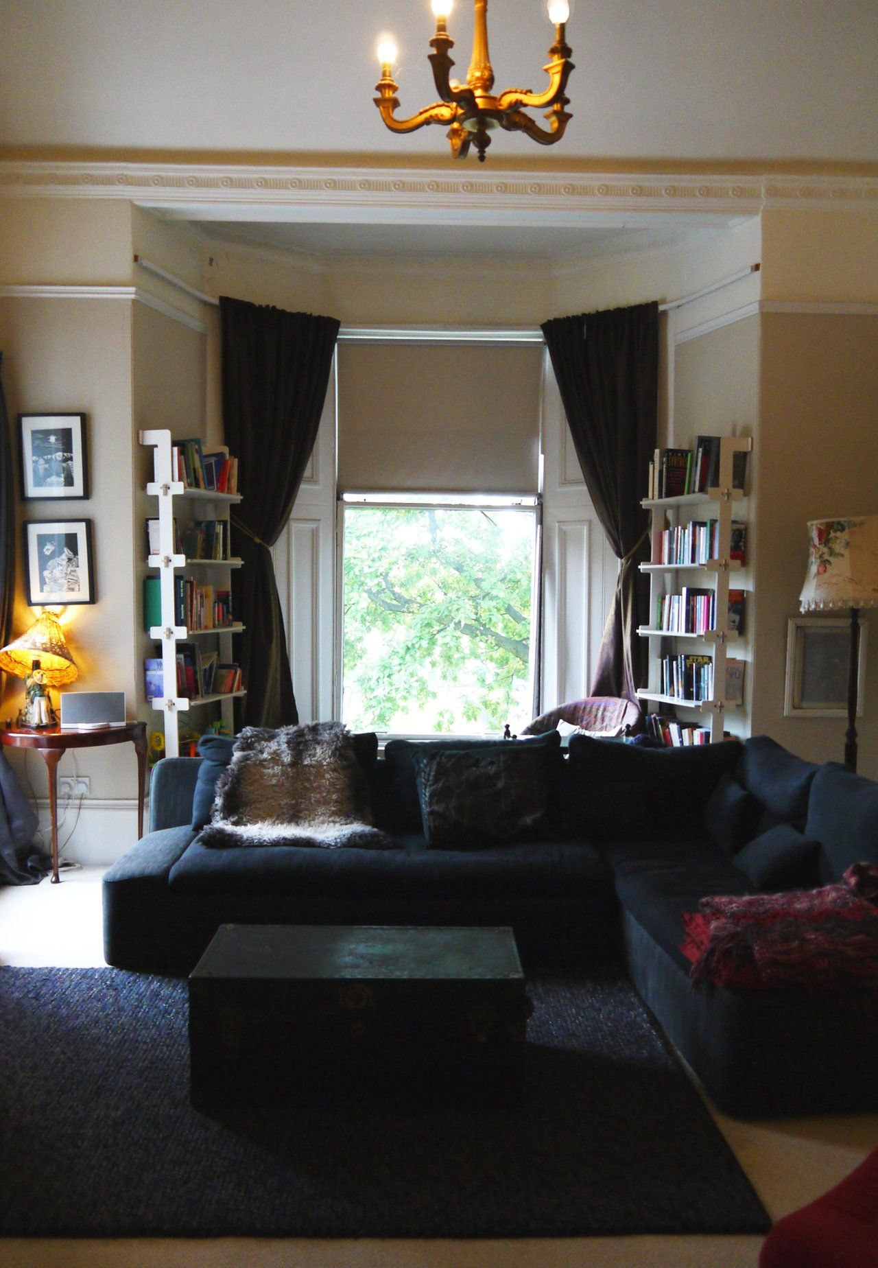 The shelves and walls are monochromatic this is my current decorating issue mackay   former billiard room home apartment therapy also mackays living rooms rh pinterest