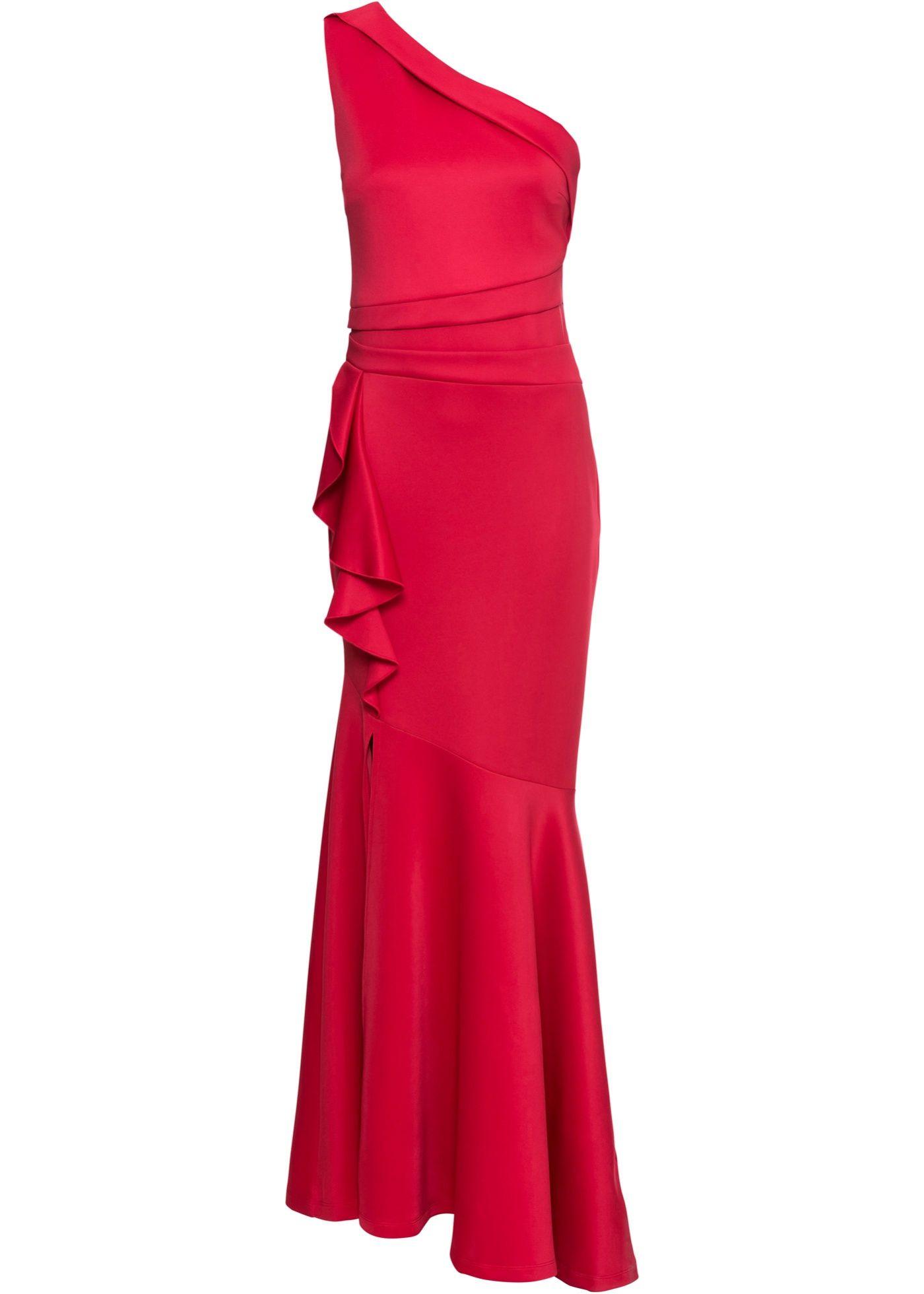 Langes One-Shoulder-Kleid mit Volants  Kleid mit volant, One