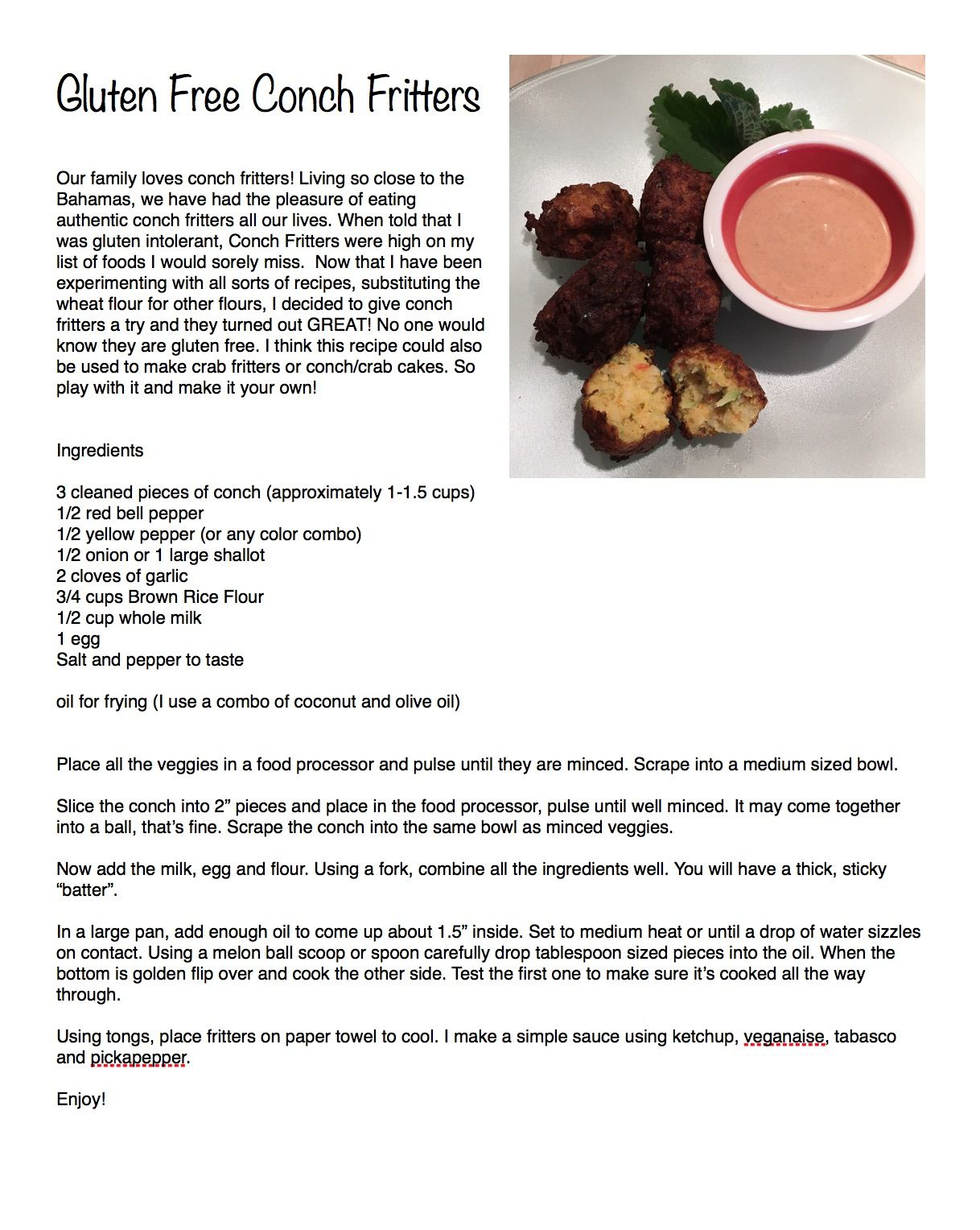 My version of GlutenFree Conch Fritters, Delicious