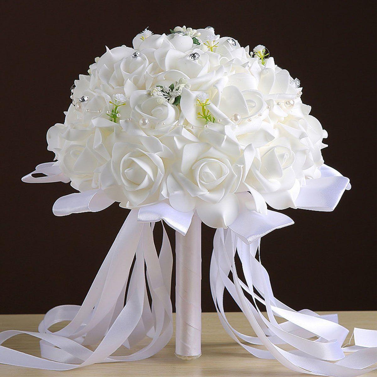 Amazon.com: Zebratown 9.5inch White Crystal Pearl Roses Bridal ...