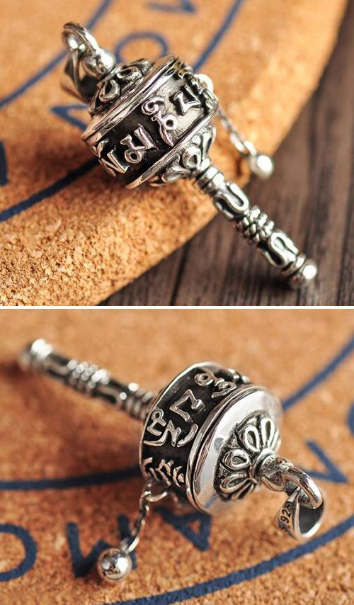 Men S Sterling Silver Prayer Wheel Pendant Necklace With