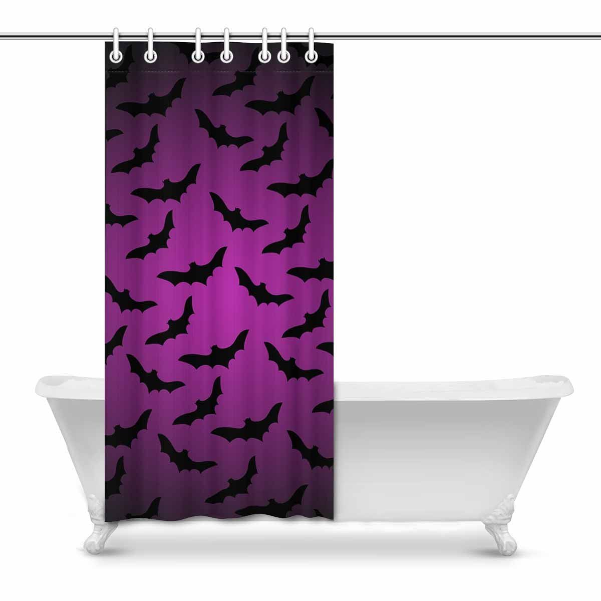 InterestPrint Halloween Dark Background With Bats Modern Art Fabric Shower Curtain 36 X 72 Inches Have A Look At This Excellent Product