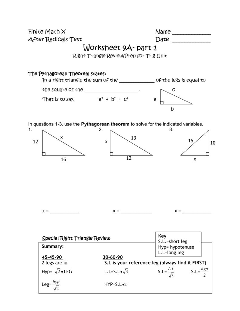 Special Right Triangles Worksheet Answer Key With Work