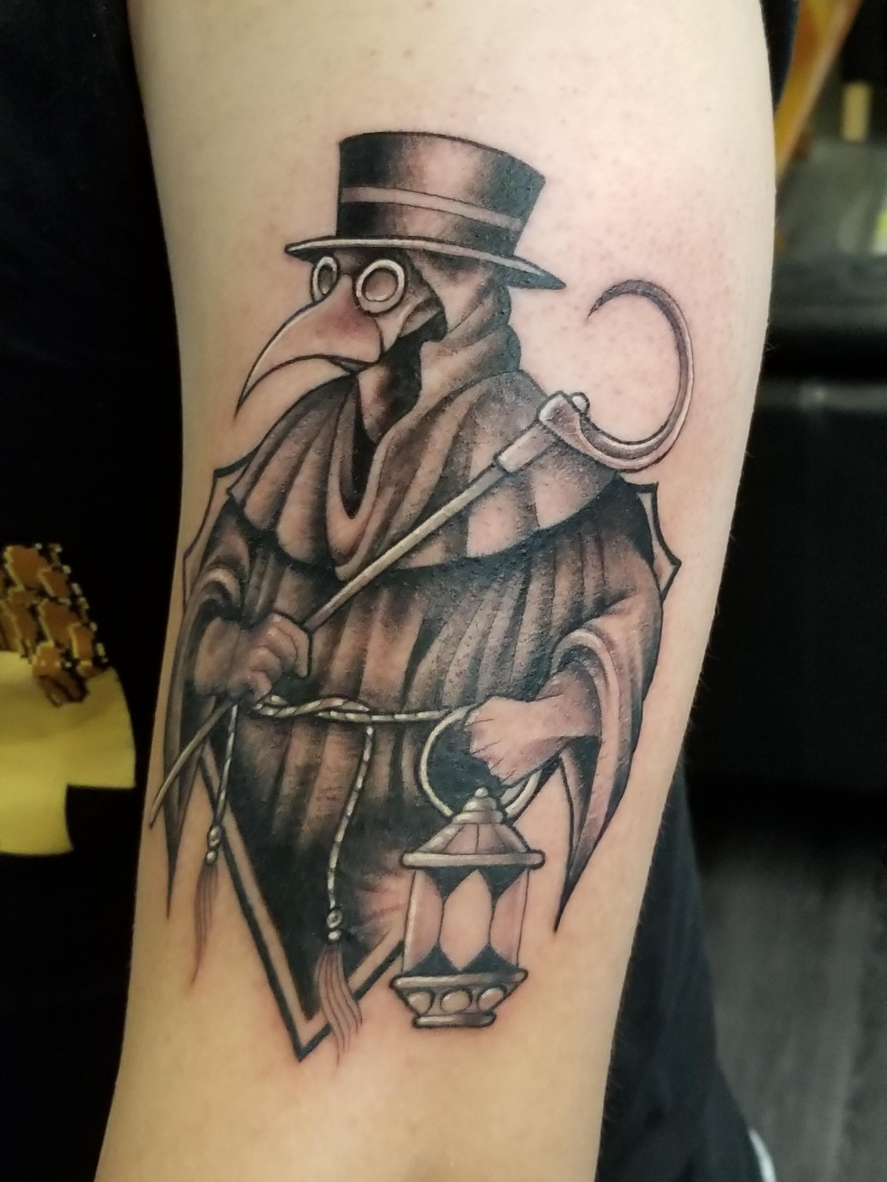 Plague Doctor by Max Lowe at Olde Line Tattoo in