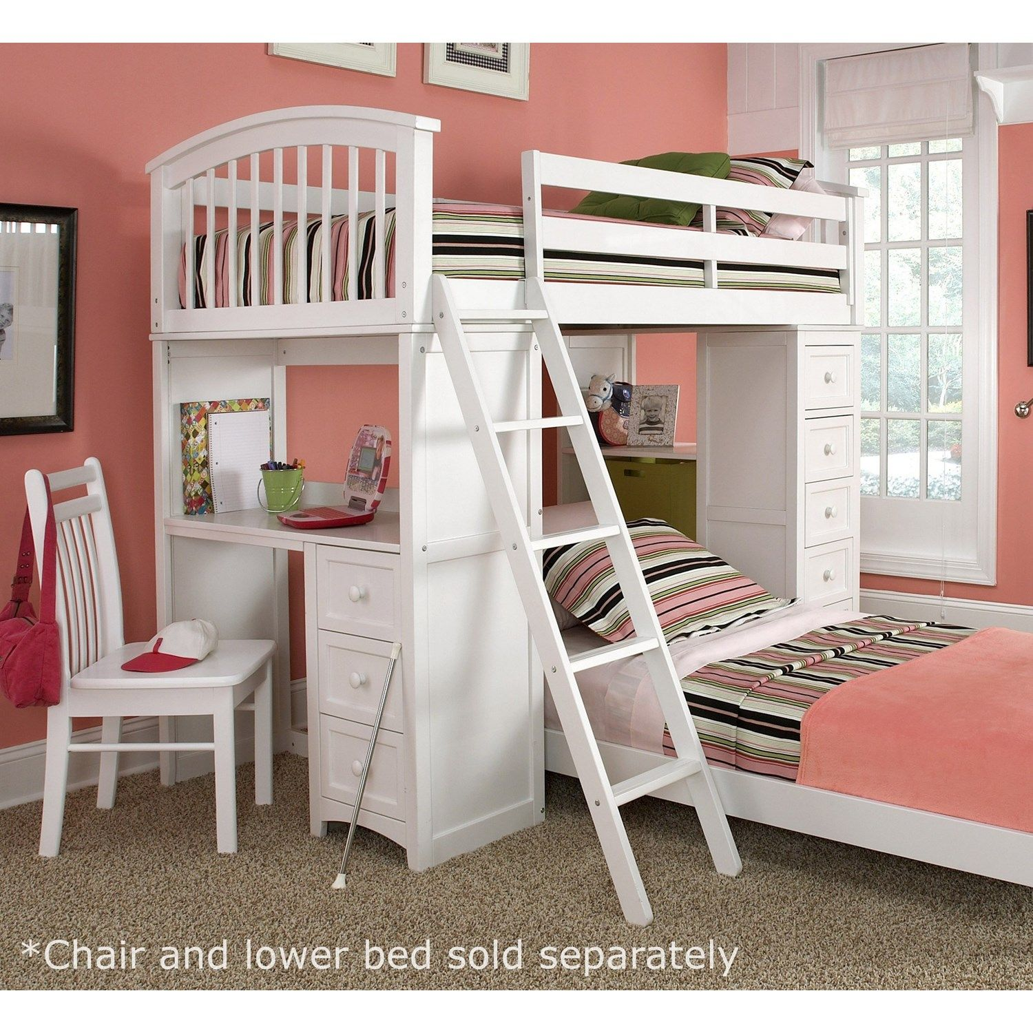 Low loft bed with stairs and storage  In a compact footprint you get it all with the NE Kids School House