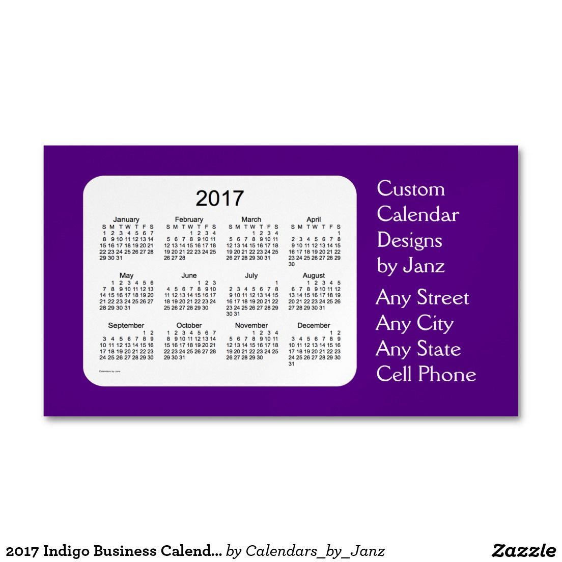 2017 Indigo Business Calendar by Janz Magnet Business Card Magnet ...