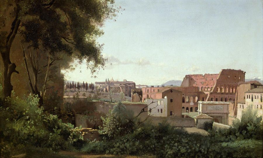 View Of The Colosseum From The Farnese Gardens Painting  - View Of The Colosseum From The Farnese Gardens Fine Art Print
