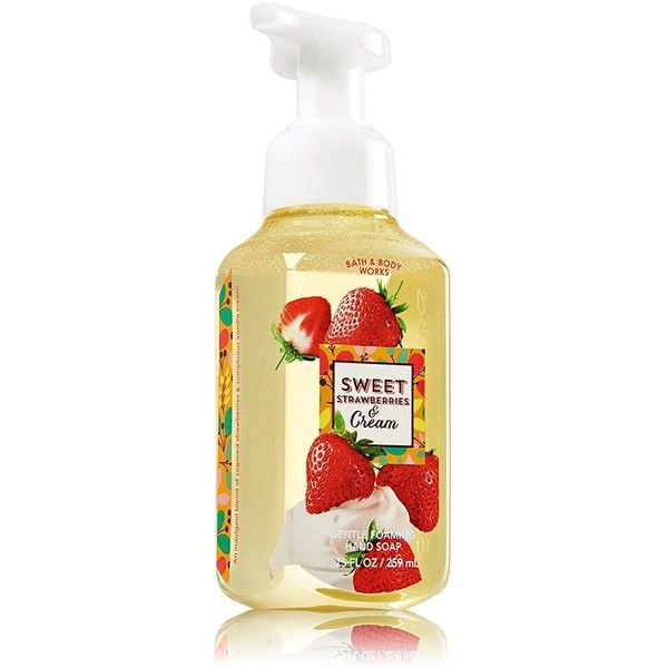 Bath Body Works Gentle Foaming Hand Soap Sweet Strawberries Cream (€5,41) ❤ liked on Polyvore featuring beauty products, bath & body products and body cleansers