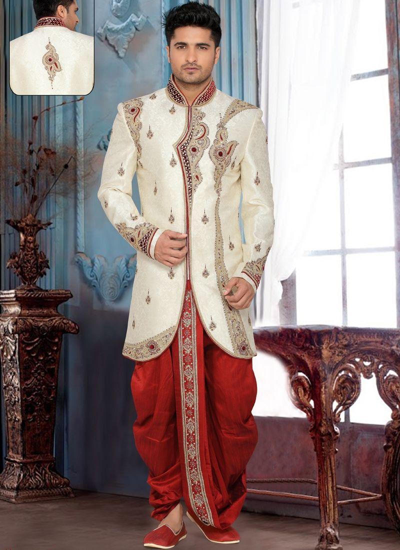 Special groom invaluable beige colour brocade art silk readymade