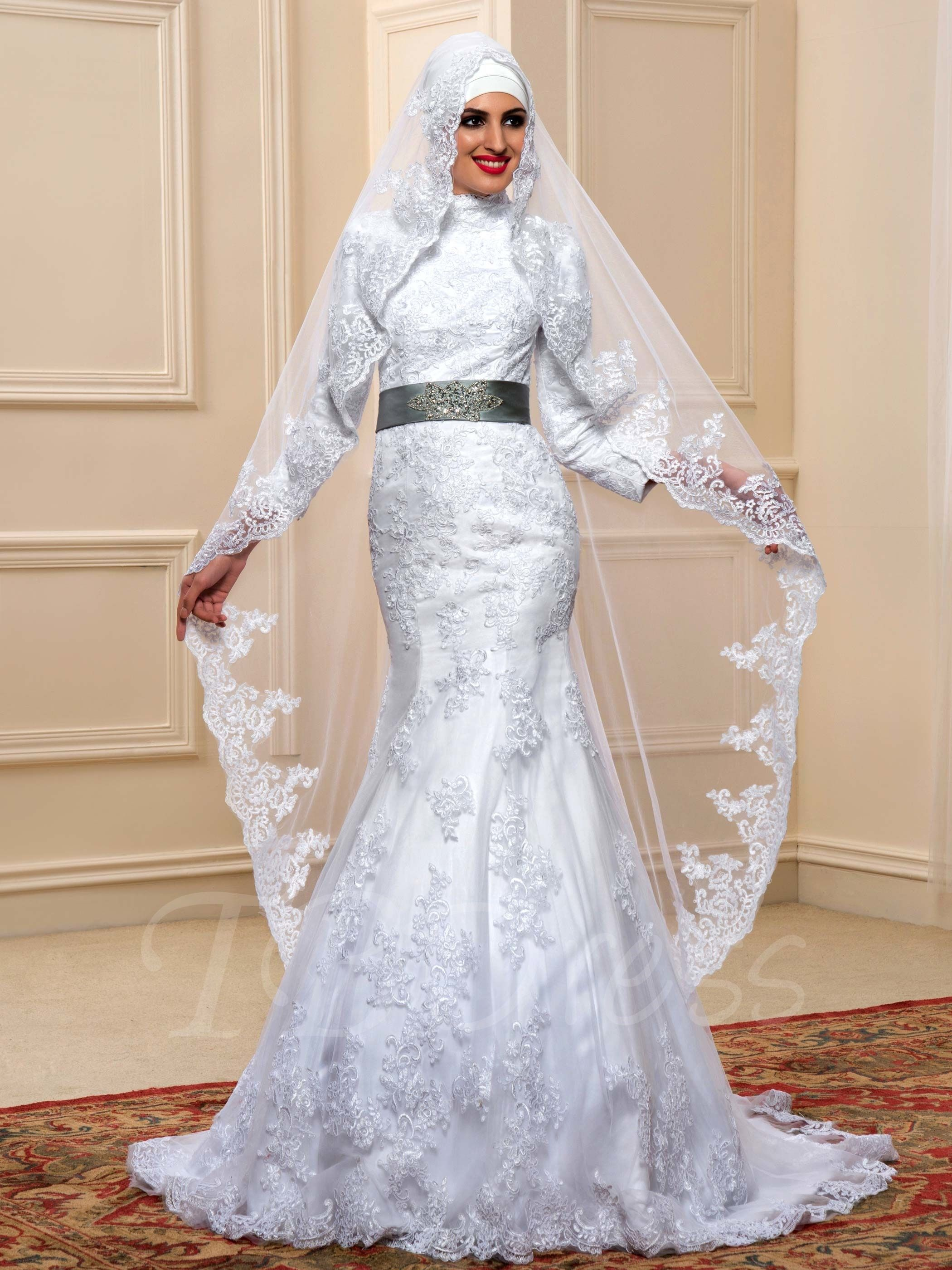 Tbdress Offers High Quality Long Sleeves Beading Lace Trumpet Mermaid Muslim Arabic Wedding Dress Dresses Unit Price Of 263 99
