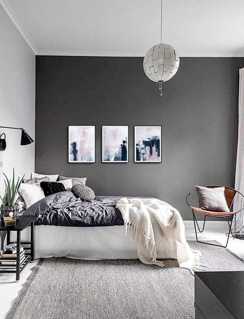 Pink Navy Blue Triptych Wall Art Set Of 3 Prints Digital Download Modern Poster Abstract Wall Art Art Minimalist Scandinavian Art Schlafzimmer Design Zimmer Einrichten Schone Schlafzimmer Download minimalist bedroom designs