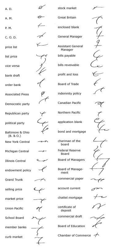 Gregg Shorthand Brief Forms Use Shorthand Symbols Pinterest