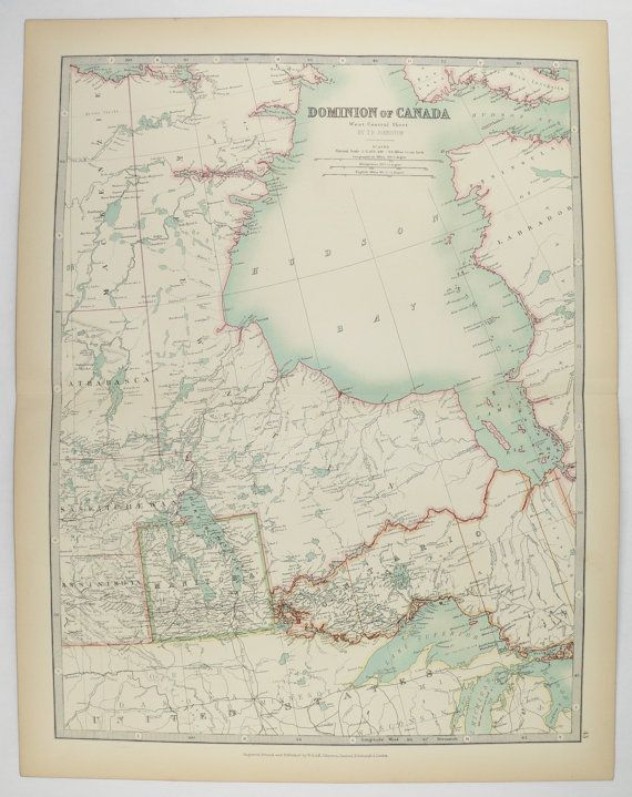 Map Of Canada 1905.Central Canada Map Hudson Bay 1905 Johnston Map Manitoba West