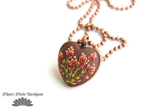 Heart Pendant Necklace, Copper Heart Necklace, Garden Necklace, polymer clay jewelry, clay charm, Piper Pixie Designs
