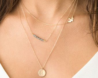 Delicate Necklace Set w/ Bird Necklace and Gemstones and initial necklace, 14K Gold Fill Layering Necklaces / Everyday Gold Necklaces LS912