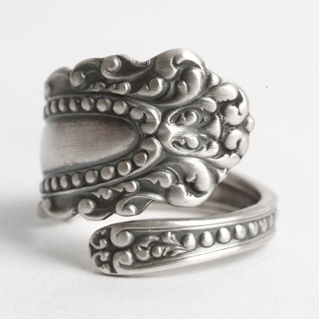 Victorian Ring, Sterling Silver Spoon Ring, Rococo Ring, Antique Watson 1895 Eugenie, Unique Silver Ring, Handmade Adjustable Ring Size 6115 by Spoonier on Etsy