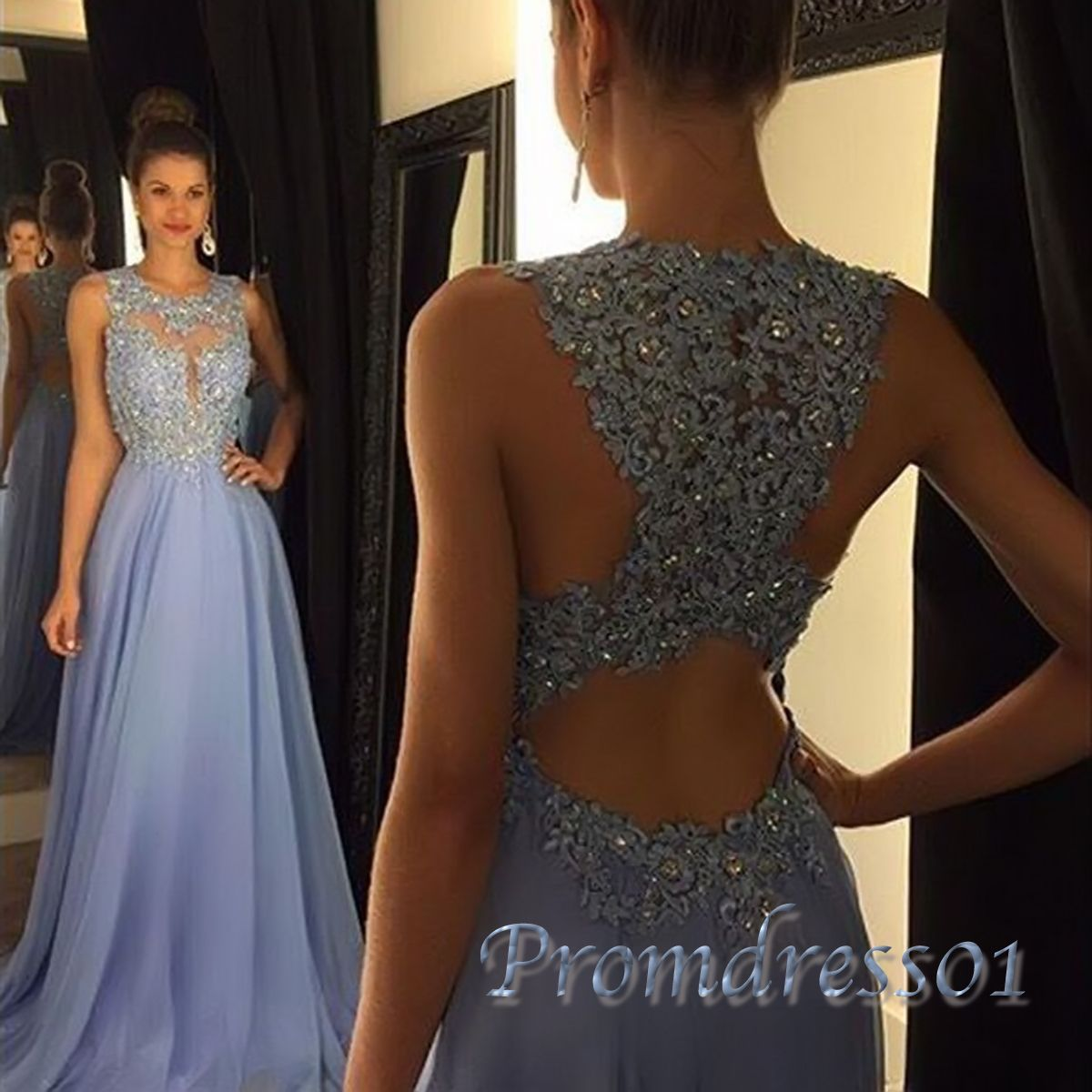 Aline lavender high neck lace long prom dress prom dresses