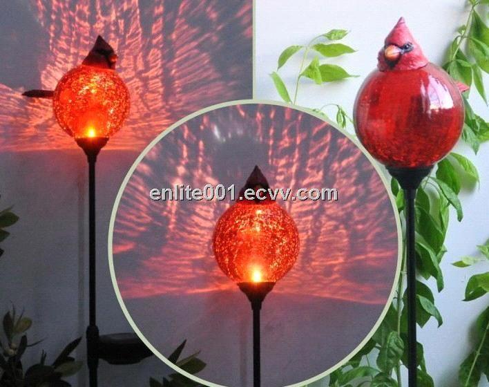 Holiday Light,Red Bird Shape Solar Garden Light,LED Lamp,Glass+Resin