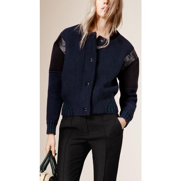 Burberry Knitted Bomber Jacket with Contrast Sleeves (205.685 RUB) ❤ liked on Polyvore featuring outerwear, jackets, blue bomber jacket, bomber jacket, blouson jacket, blue jackets e flight jacket