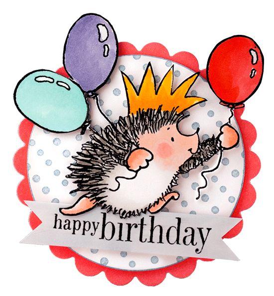 Открытки днем рождения ежики