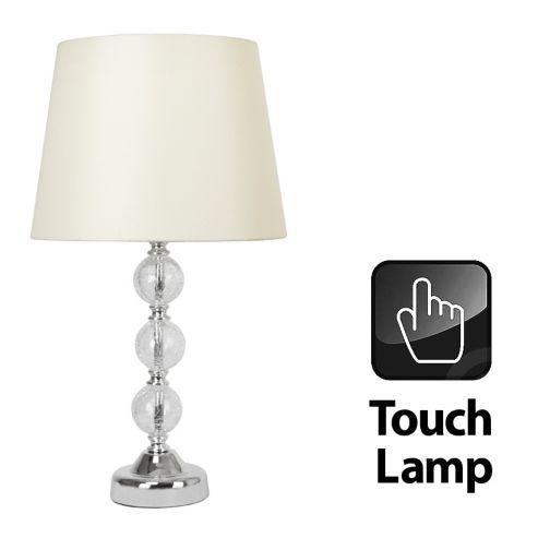 Tesco direct crackle glass ball touch table lamp chrome cream shade