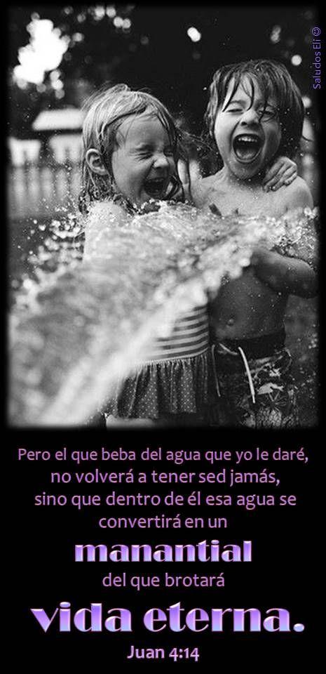 Pero el que beba del agua que yo le daré,  no volverá a tener sed jamás,  sino que dentro de él esa agua se convertirá en un  manantial  del que brotará  vida eterna. Juan 4:14