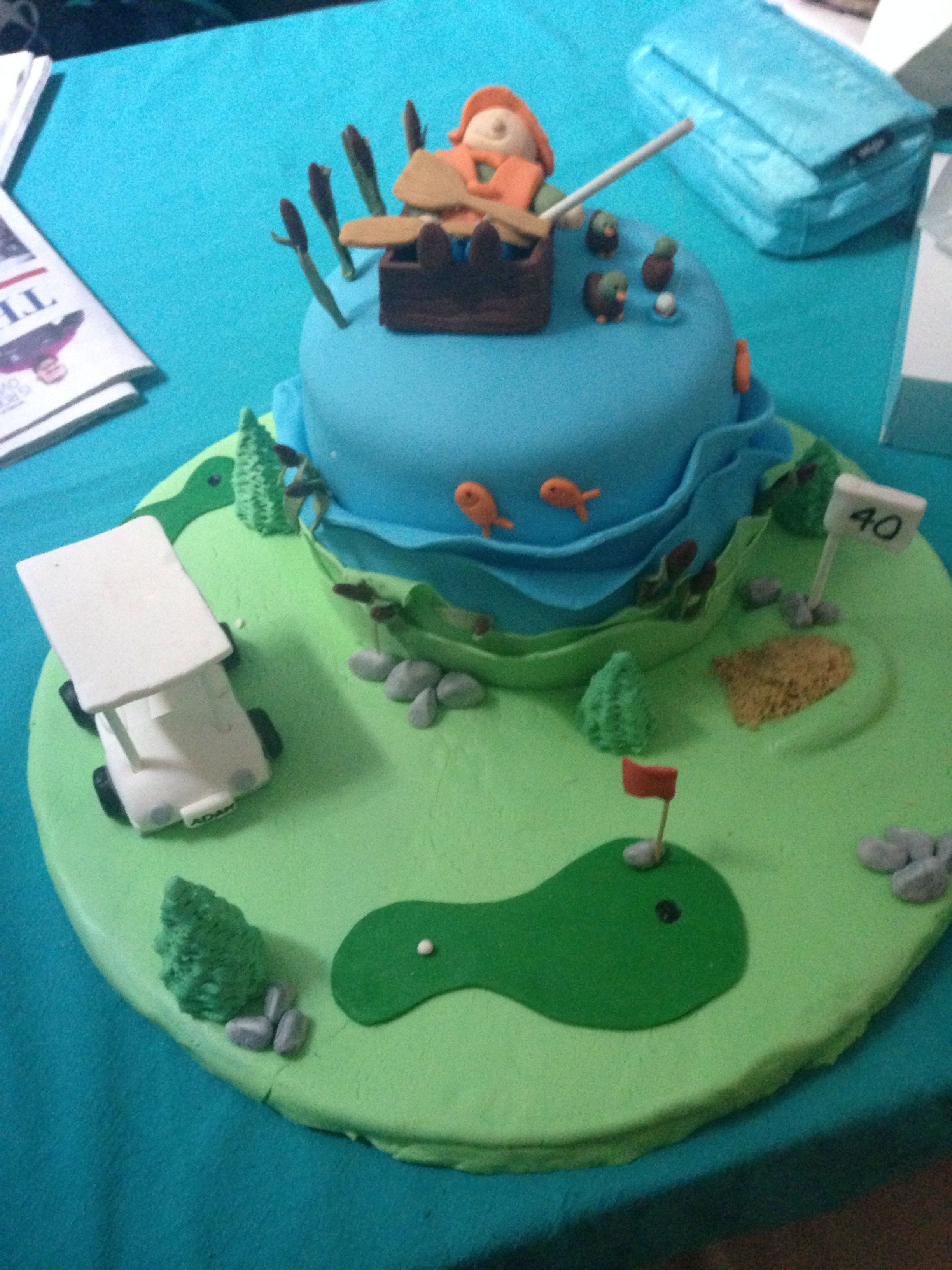 Fine Husbands 40Th Birthday Cake Golf And Fishing Birthday Cake With Personalised Birthday Cards Epsylily Jamesorg