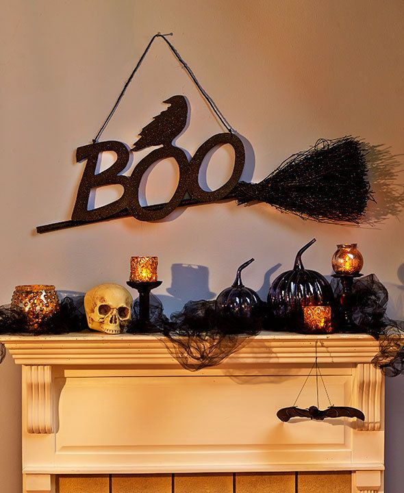 """38"""" Hanging Boo Witch Broom Halloween Party Prop Decor"""