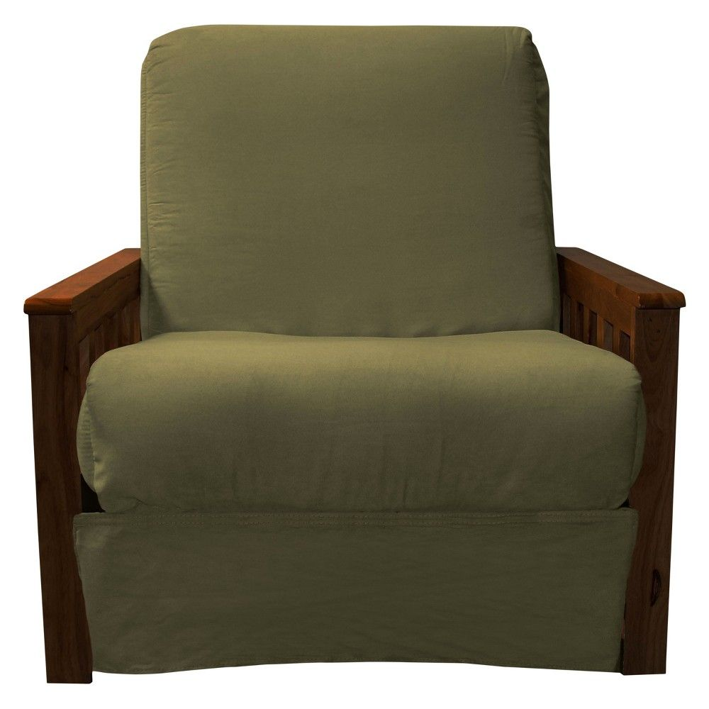 Mission Perfect Convertible Futon Sofa Sleeper Walnut Finish Wood Arms Olive Green Upholstery Chair Size Sit N Sleep Heather