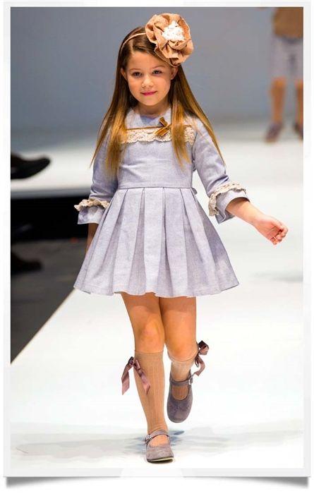 Chambray Quarter Sleeve Dress By Tartaleta Spanish Kids -4698