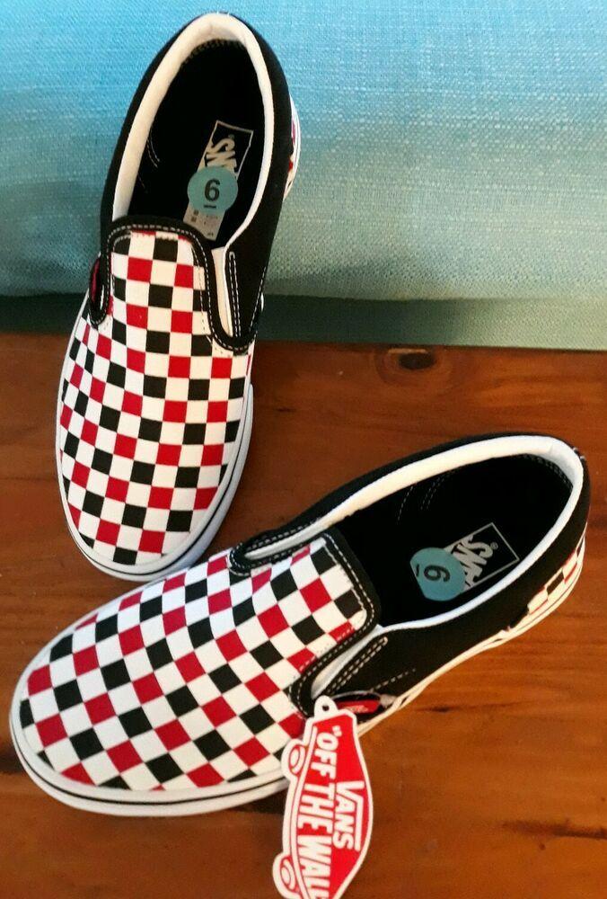 Vans checkered, Vans slip on black