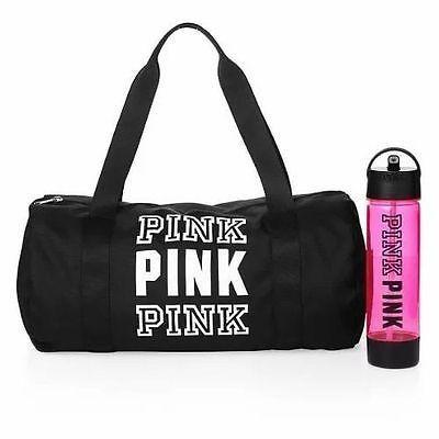 37291a1a862a5 Details about Victoria's Secret Pink Duffle Campus Water Bottle Set ...