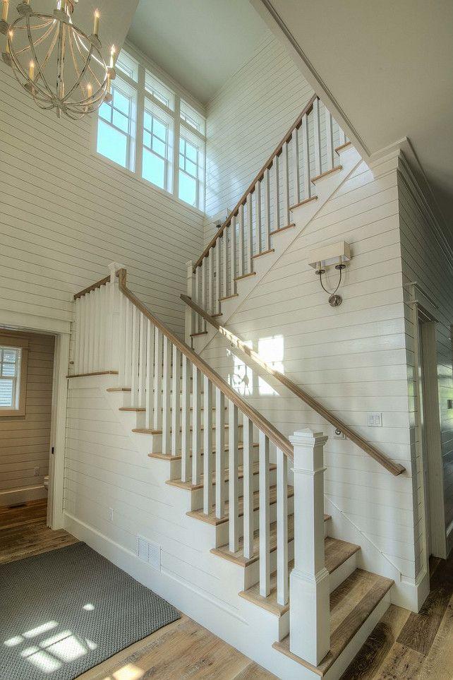 Beach House Foyer : Shiplap foyer staircase