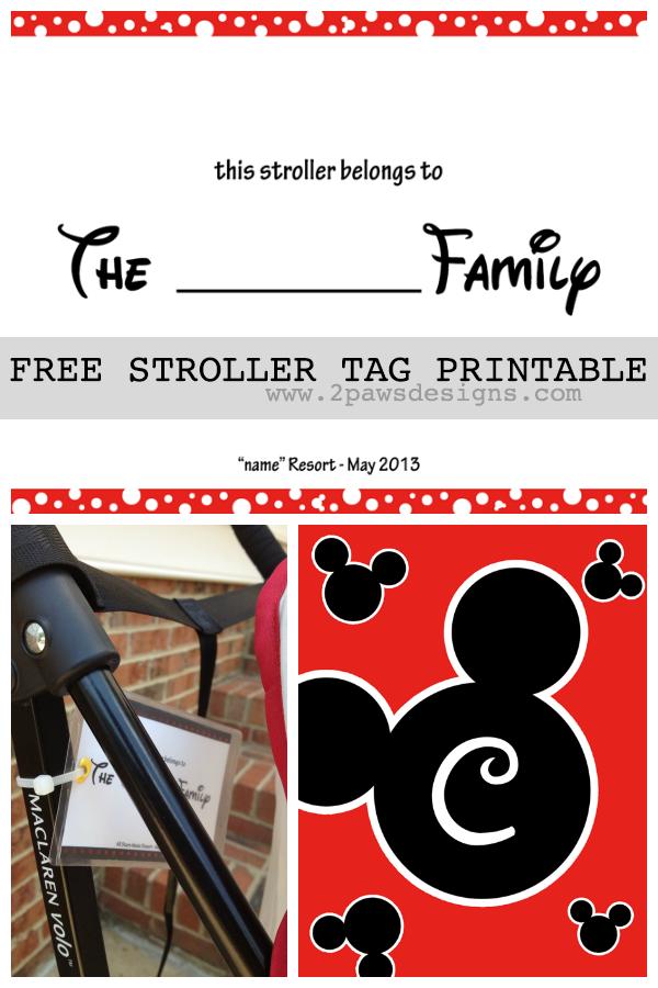 Friday Freebie DIY Disney Stroller Tag Template Tag Templates - Travel name tag template