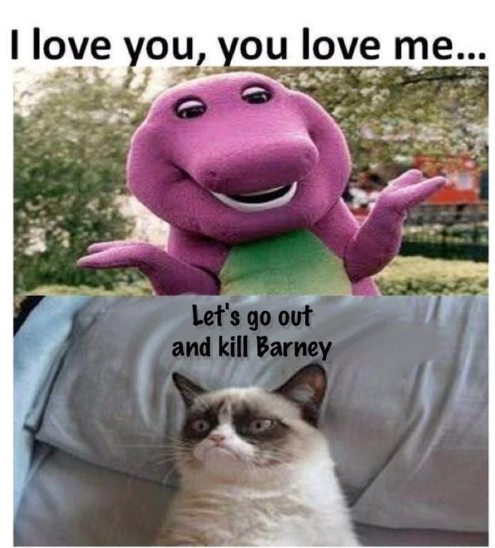 This Was Me I Hated Barney Click On The Link To Check Out Great Cat And Kitten Products At Www Bowch Funny Grumpy Cat Memes Funny Cat Memes Grumpy Cat Quotes