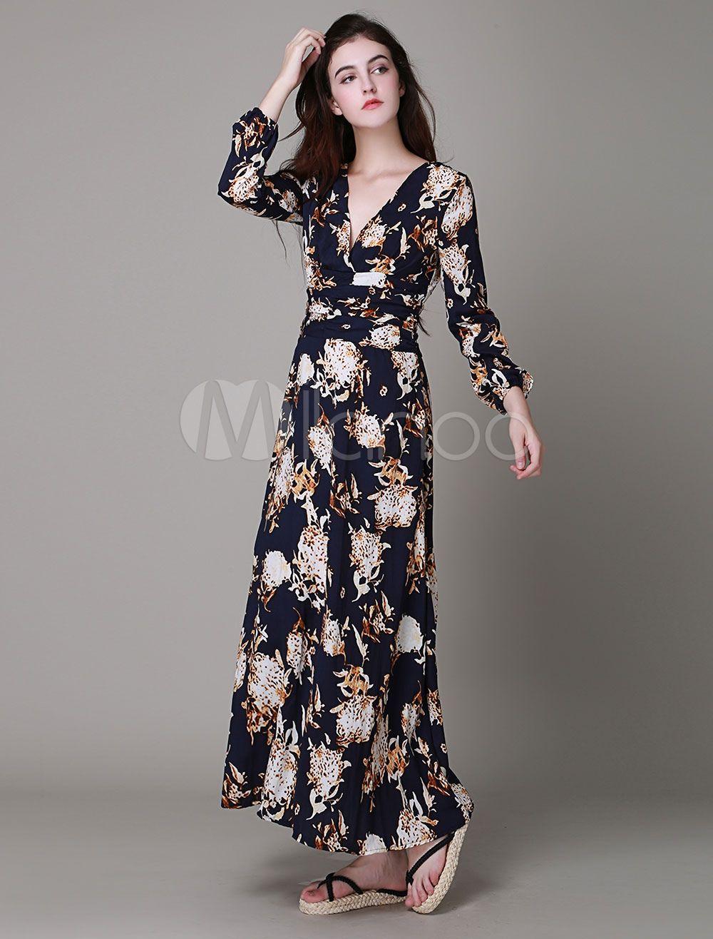 9f076a90a Vestido largo de brocado con cuello en V con estampado con manga larga estilo  bohemio