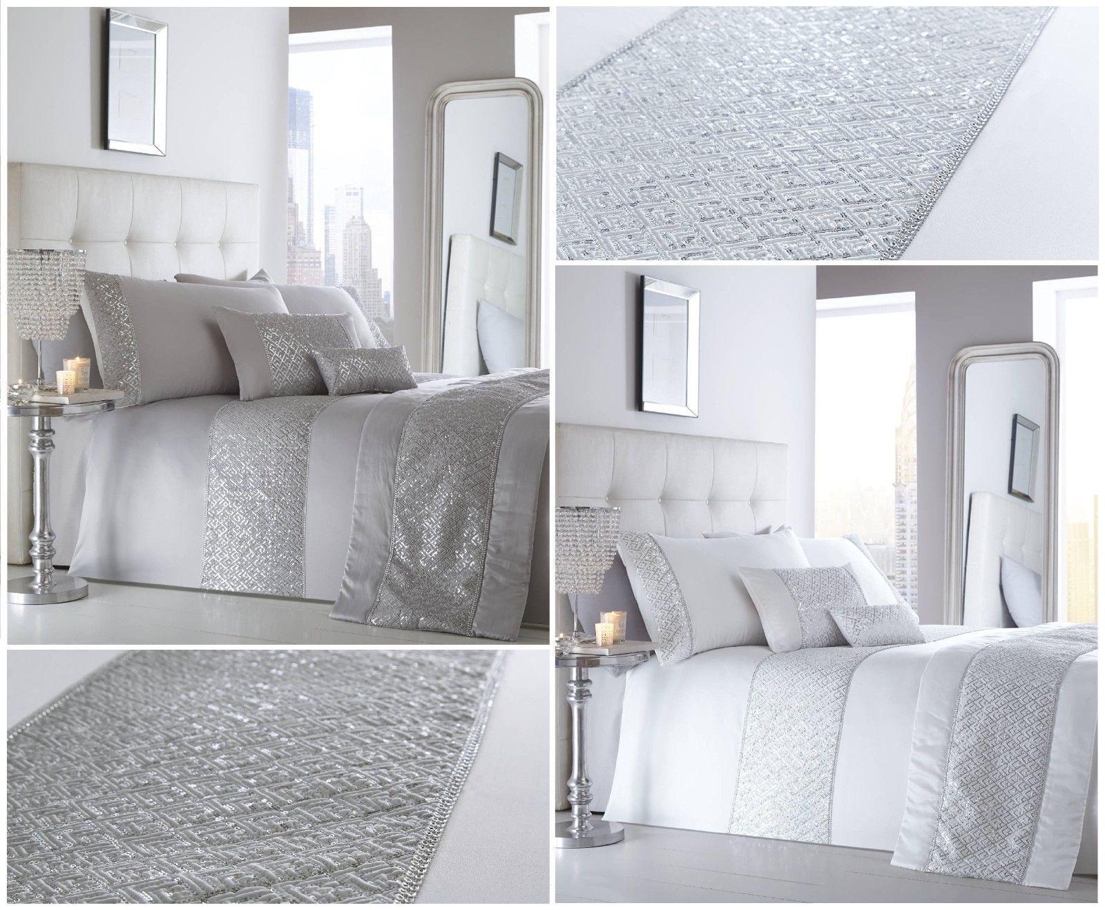 Chatoyant Luxe Sequin Diamant Blanc Argent Housse De Couette Set