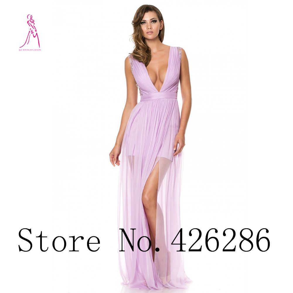JY 2016 High-End Custom Deep V-Neck Chiffon Pleat Lace Side Slit ...