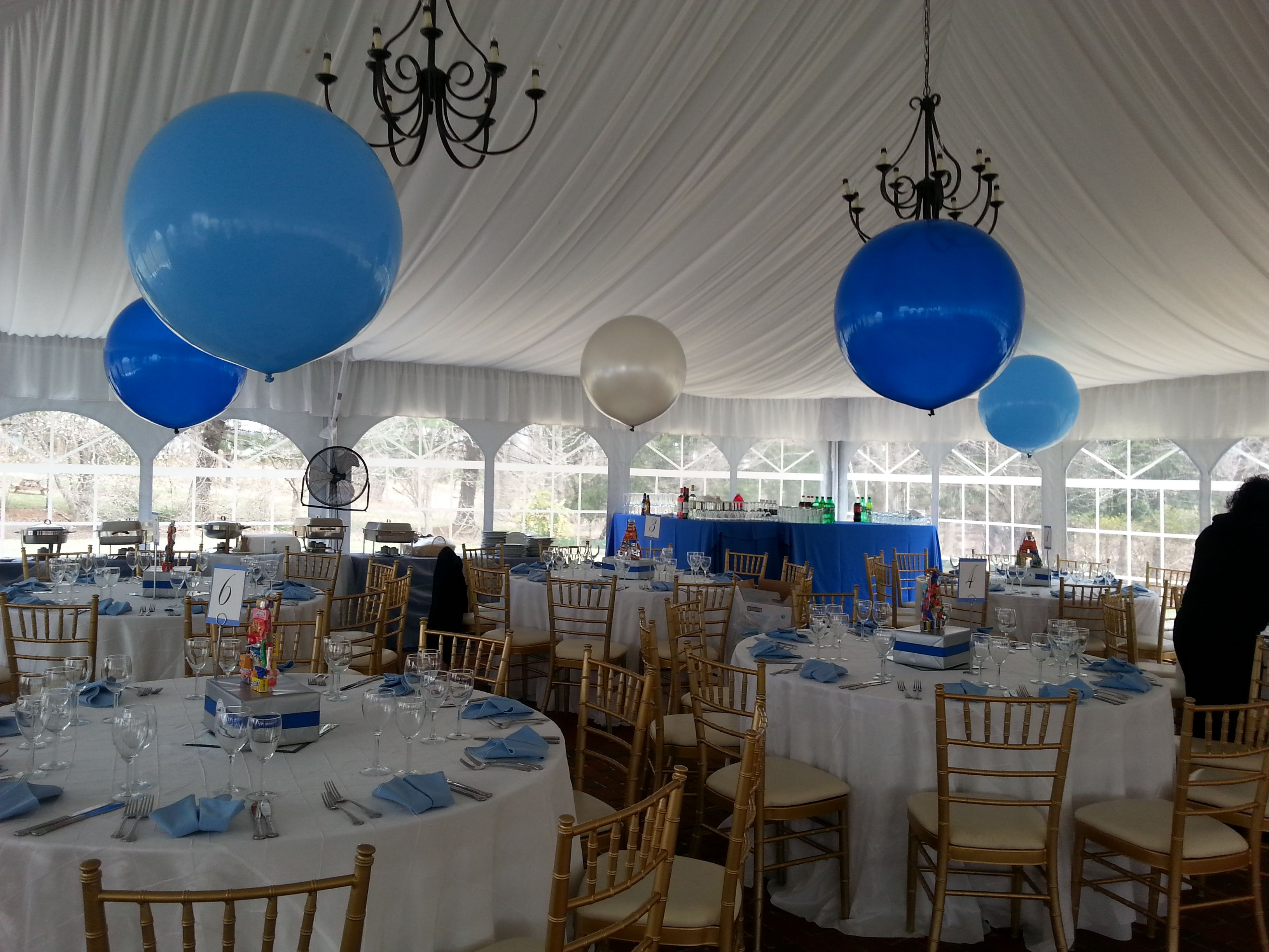 3 Balloon Centerpieces Light Blue Blue And Silver Balloons Balloon Centerpieces Big Balloons Balloon Decorations