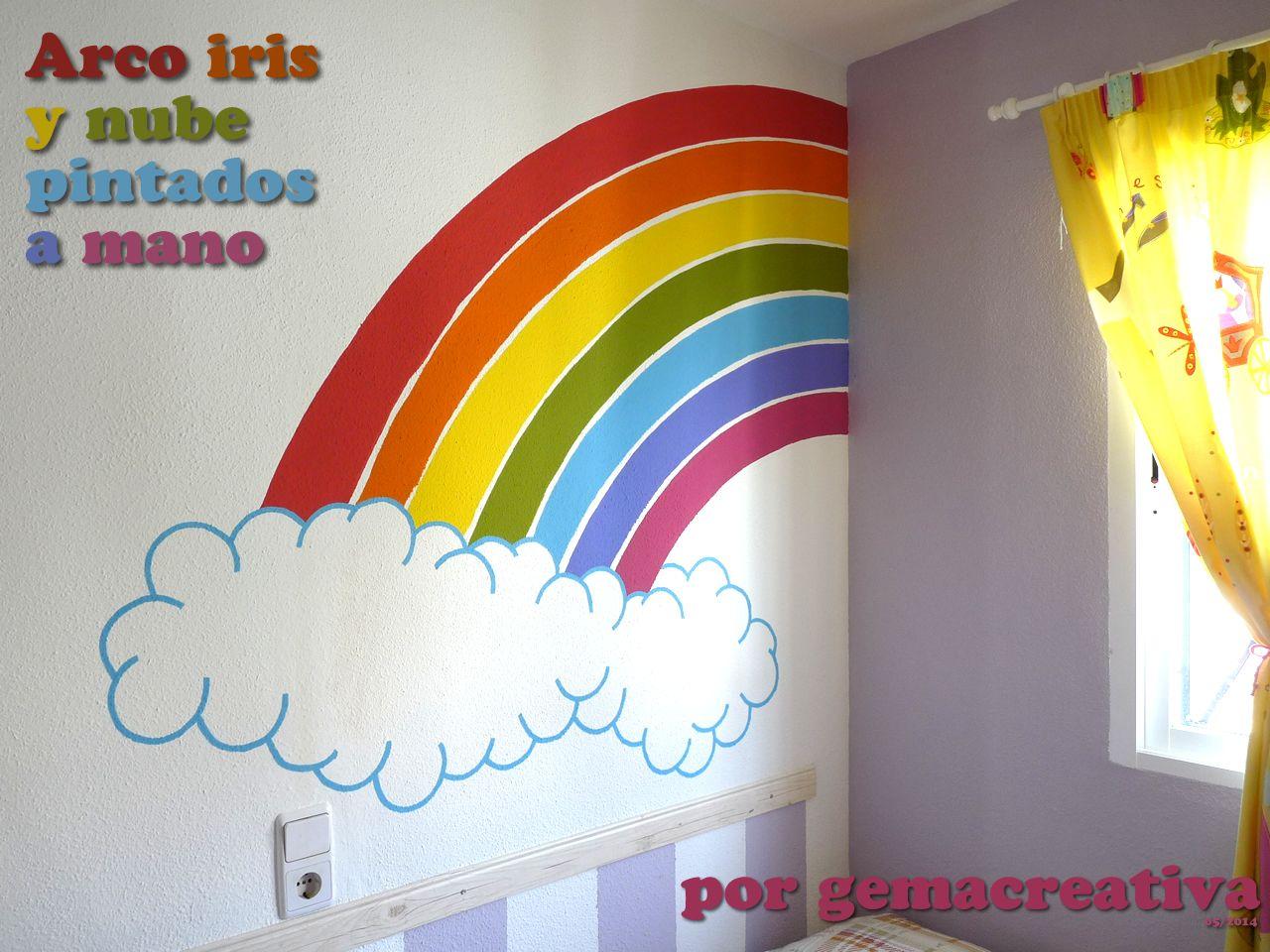 Mi primer dibujo sobre pared un arcoiris para mi for Paredes habitacion infantil