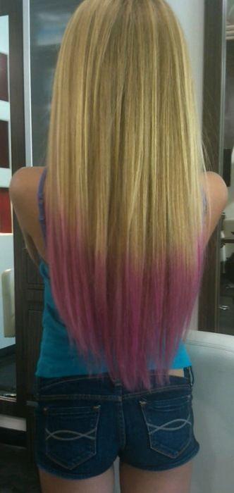Pinkkk Tips Dip Dye Hair Long Blonde Hair Dyed Blonde Hair