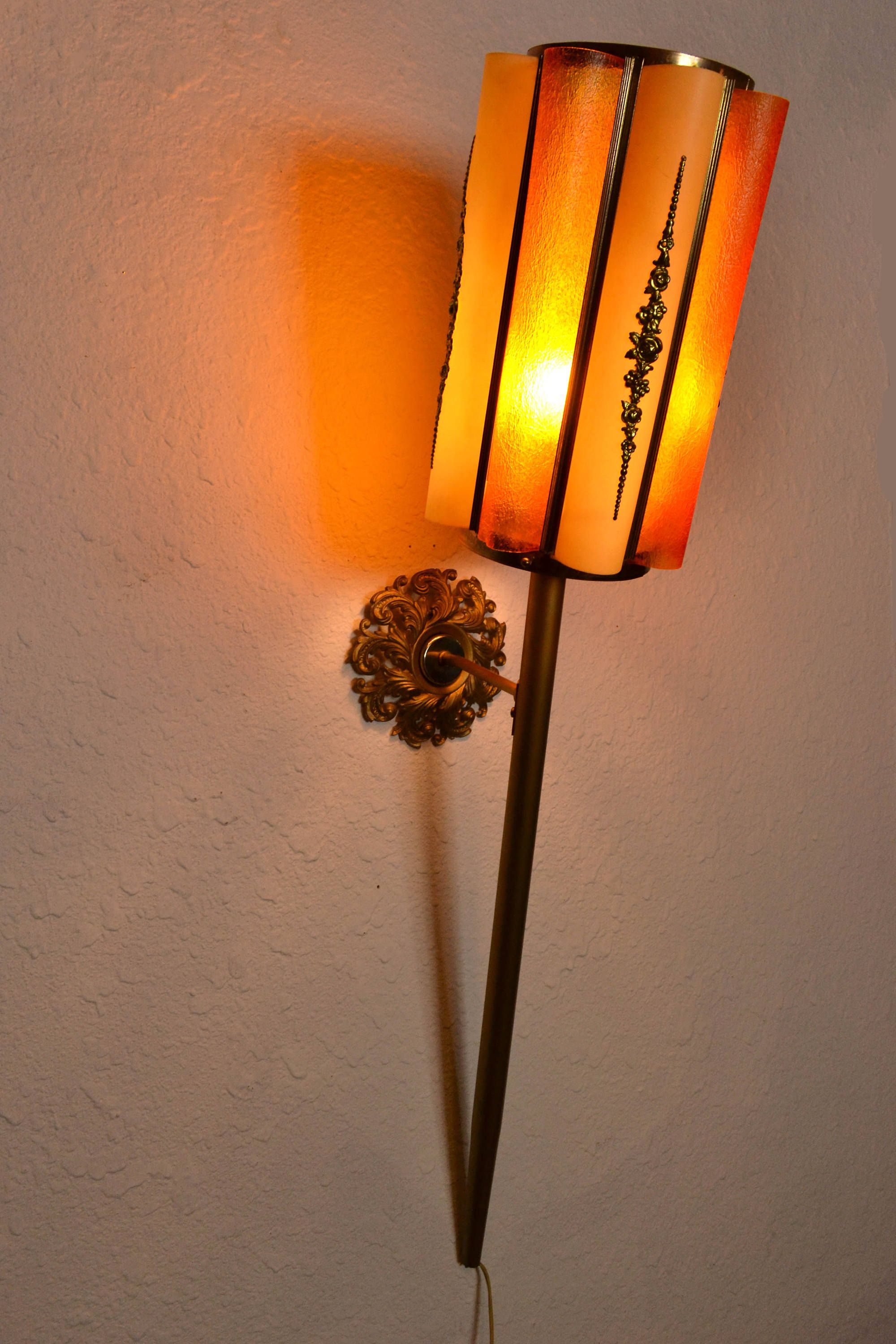 Mid century modern castle tiki torch lamp wall sconce by