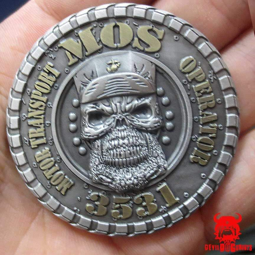 The USMC 3531 Motor Transport Operator MOS Coin is for all of our