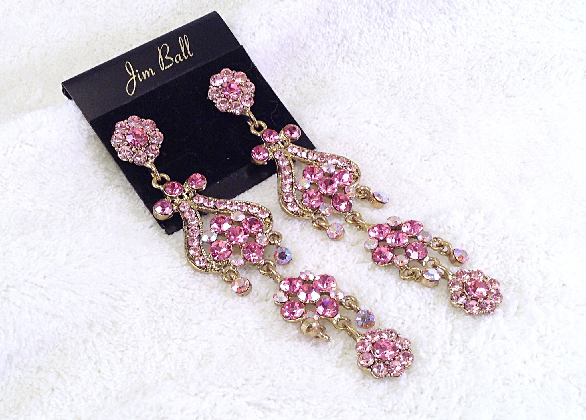Pink fuschia swarovski crystal rose gold long chandelier stage pink fuschia swarovski crystal rose gold long chandelier stage earrings aloadofball Image collections
