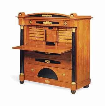 A BIEDERMEIER ASH, BIRCH AND EBONISED SECRETAIRE A ABATTANT   EARLY 19TH CENTURY