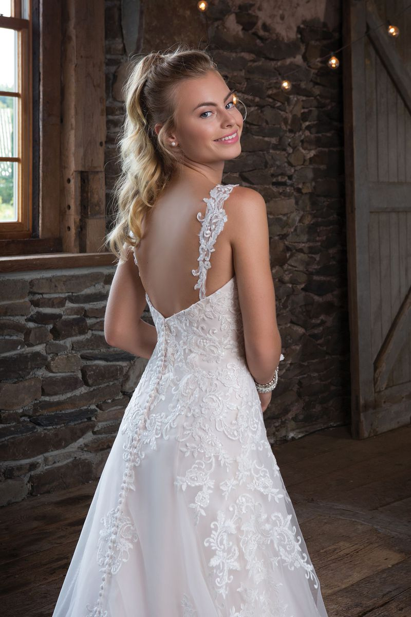 Style 1120 Sequined Lace Aline Dress with Detachable